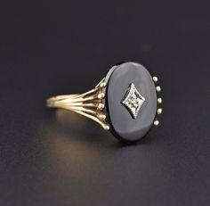 Retro Black Onyx Diamond Gold Ring, Sz 9.75 #Black #Victorian #Ring #Onyx #Gold #Diamond #Suffragette #Bird #Snake #1940s
