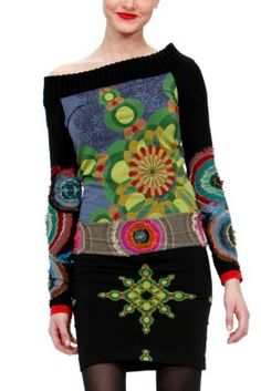 Alanna Desigual women s long sleeved knitted top from the Galactic line.  Open neck db72742f455ee