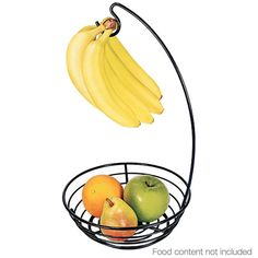 The Fruit Basket with Banana Hanger helps ripen and keep fruit fresh by preventing bruising and allowing air circulation. The hanger also saves counter space and detaches for easy storage. Talk about a savvy space saver. Fruit Holder, Love Keychain, Shops, Kitchen Gadgets, Kitchen Tools, Kitchen Ideas, Kitchen Shop, Kitchen Things, Kitchen Essentials