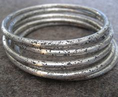 Chunky Wabi Sabi/Sterling Silver Bangle Bracelet on Etsy, $185.00