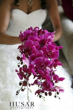 Stunning Cascading Bridal Bouquet Of: Fuchsia Phalaenopsis Orchids