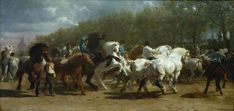 """Like Constant Troyon, Bonheur aimed at an epical, """"heroic"""" interpretation of animals which became extremely popular. The Horse Fair,  ca. 1852–55."""