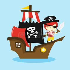 A cartoon vector illustration of a pirate kid on a pirate ship. Pirate Birthday, Pirate Theme, Pirate Party, Images Pirates, Pirate Images, Pirate Boats, Pirate Kids, Ship Vector, Vector Art