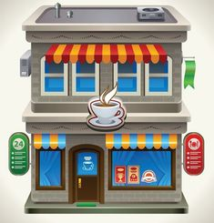 Cartoon coffee shop cartoon coffee vector material cartoon,c