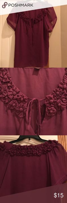 Trulli purple blouse Gorgeous purple blouse with flower detail all around in the neckline. Trulli Tops Blouses