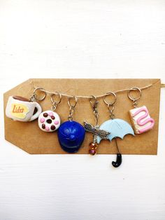 Gilmore Girls stitch markers, polymer clay charms, polymer clay stitch markers, handmade clay markers, knitting stitch markers by LittleBittyDelights on Etsy https://www.etsy.com/listing/476863992/gilmore-girls-stitch-markers-polymer