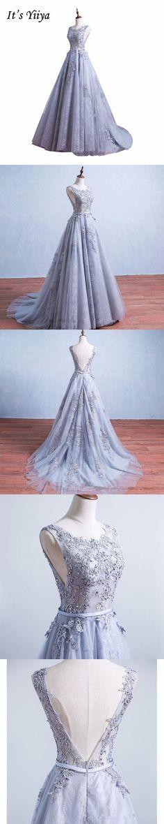 It's YiiYa Gray O-neck Sleeveless Backless Sex Prom Dresses Luxury Train Lace Simple Crepe Party Frocks Custom Made IIY075