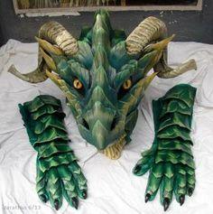 Green Dragon Mask by Chromamancer on DeviantArt Dragon Mask, Dragon Head, Dragon Fursuit, Dragon Puppet, Adornos Halloween, Dragon Costume, Vintage Mermaid, Leather Mask, Creative Costumes