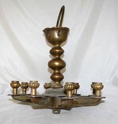 Antique Judaica Jewish Juden Stern Oil Lamp 8 Stems Poland 19th Century