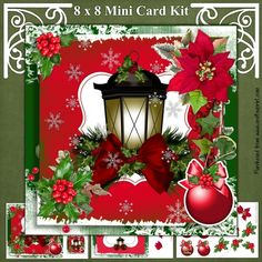 Snowy Christmas Lantern by Mandy Kirby Three page mini kit includes 8 inch square topper and two 3 inch square toppers insert sheet and decoupage sheet. Six bauble sentiment tags (one blank for your own text)Happy Crafting)