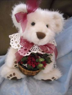 """shabby n chic white teddy bear ADorable decoration decor custom plushfor sale in my store The Chic N Prim cottage ebay have to put in the """"the """" in search engine $10 + FREE Shipping when you spend $30 or more!"""
