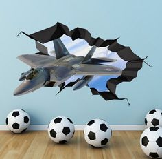 Army Fighter Jet Plane 3D Wall Art Decals Wall Art by GlitterBlast