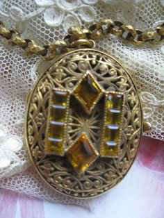 Antique Vinaigrette Locket Necklace by AndOnToWillow on Etsy