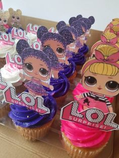 LOL Girl Surprise Cupcake Toppers Doll Birthday Cake, Funny Birthday Cakes, 6th Birthday Parties, Birthday Ideas, Lol Doll Cake, Birthday Party Centerpieces, Doll Party, Bday Girl, Lol Dolls