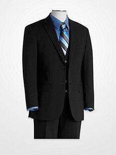 Black Modern Fit Vested Suit