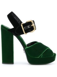 Prada Velvet Platform Sandals In Green Ankle Strap High Heels, Chunky High Heels, Ankle Wrap Sandals, Open Toe Sandals, Strappy Sandals, Leather Sandals, Sandals Platform, Shoes Sandals, Prada Shoes