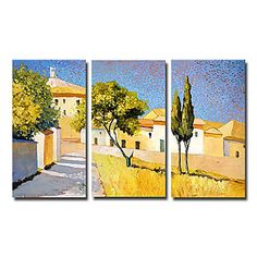 Hand-painted Landscape Oil Painting - Set of 3  - Free Shipping