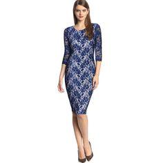 Navy Lace 3/4 Sleeves Sheath Dress $34.99
