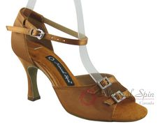 Natural Spin Latin Shoes(Open Toe, Adjustable):  M1113-21_DrBrownCS
