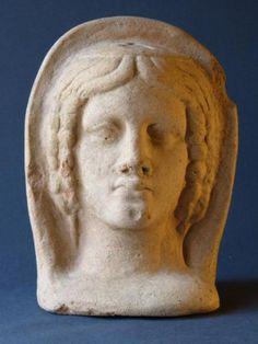 Antique for sale Etruscan terracotta votive statue woman ex voto Mask Head Sculpture Fine arts architecture