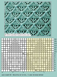 Free Lace chart #2  | Lace knitting stitches