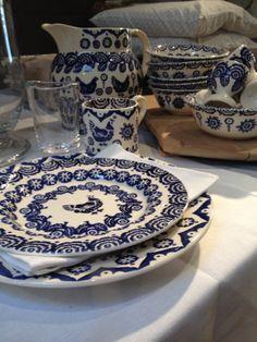 Emma Bridgewater Blue Hen & Border, Splatter Hen on Nest, Scapa Home textiles, Sempre glass, Flamant wooden wine barrel chopboard www.byhedges.nl