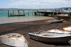 Kawhia wharf in New Zealand.