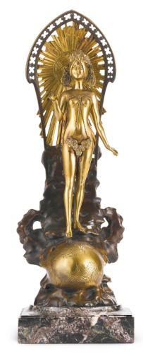 """""""Conquérir Le Monde,"""" a French bronze figure by Louis Chalon."""