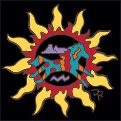 Southwest Sun with Southwest Horse Decorative Art Tile Native American Horses, Native American Patterns, Native American Symbols, Native Drawings, Sun Art, American Indian Art, Gourd Art, Barn Quilts, Rock Crafts