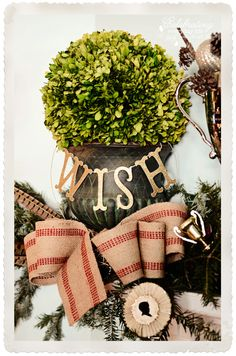 "Gold ""WISH"" glitter garland, burlap bow, boxwood ball, Hunt Country/Ralph Lauren inspired Christmas Mantel Decorations"
