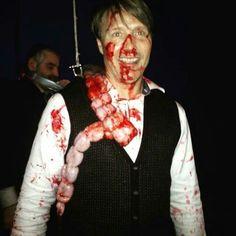 Mads Mikkelsen on set of S3 Hannibal