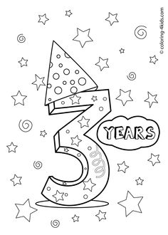3 years, birthday coloring pages for kids, printables