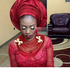 Multi-layer bead #Red #Makeup ~Latest African fashion, Ankara, kitenge, African women dresses, African prints, African men's fashion, Nigerian style, Ghanaian fashion ~DKK