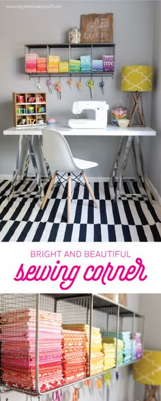 20 Pretty Sewing Room Ideas for An Inspiring Sewing Space Small Sewing Space, Sewing Spaces, Sewing Rooms, Small Space, My Sewing Room, Sewing Room Organization, Craft Room Storage, Fabric Storage, Bathroom Organization
