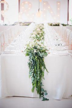 Floral & greenery table runner | Timeless Blush Wedding | SouthBound Bride | http://www.southboundbride.com/timeless-blush-wedding-at-kleinevalleij-by-lauren-kriedemann | Credit: Lauren Kriedemann