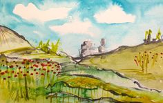 """Prepping for a new online class """"Landscapes"""" Poppy field, Diana Trout"""