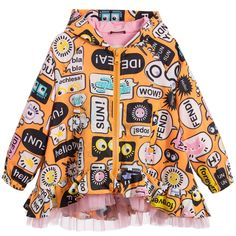 Orange hooded jacket by Fendi, with a fun and colourful speech bubble and symbols print. Made in a silky, lightweight polyamide and lined in pink cotton jersey, it fastens with a chunky zip at the front. This feminine take on a casual classic has a flared hemline, with ruffles trimmed in pink tulle and elasticated sleeve cuffs.