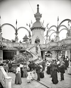 "New York circa 1905. ""The Helter Skelter, Luna Park, Coney Island."" 8x10 inch dry plate glass negative, Detroit Publishing Company"