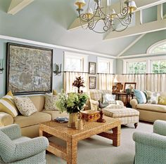 A calm palette of seaside colors mix with fabulous texture in this Nantucket living room. - Traditional Home ®/ Photo: Bruce Buck / Deisgn: Nancy Serafini
