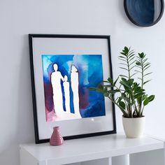 Family - Print, Wall Art Print of Original Aquarell Painting, Original contemporary art, wall decor Family Print, Printable Wall Art, Wall Art Prints, Contemporary Art, Wall Decor, The Originals, Unique Jewelry, Frame, Handmade Gifts