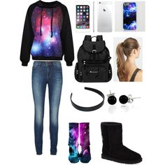 School #1 by amberpend on Polyvore featuring polyvore, fashion, style, Lipsy, NIKE, UGG Australia, Sherpani, Bling Jewelry and France Luxe