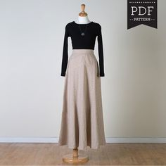 Buy sewing pattern for maxi skirt, beautiful long skirt sewing pattern, flared long skirt for summer, designed for hourglass and pear shaped women. Independent pattern designer. Made in Canada. Printed paper sewing pattern.