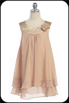 Champagne Chiffon Girls Trapeze Dress w. Satin Bib & Layered Skirt       Isabellasfate.com