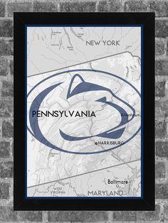 Penn St Nittany Lions Print Art Poster State 11x17. $14.99, via Etsy.