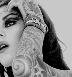Kat Von D sleeve + face tats