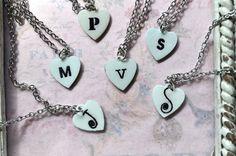 Vintage Enamel Look Personalized Custom Letter Necklace