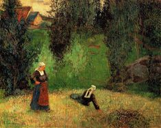 The first flowers, 1888 by Paul Gauguin, Breton period. Post-Impressionism. landscape. Private Collection