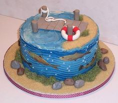 fishing birthday cake - need to add a boat and a little boy fishing Mais Fondant Cakes, Cupcake Cakes, Fish Cake Birthday, 50th Birthday, Birthday Ideas, Birthday Parties, Fisherman Cake, Lake Cake, Boat Cake