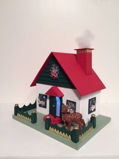 Reindeer Chalet by Putzhouse on Etsy Cardboard Houses, Paper Houses, Putz Houses, Fairy Houses, Handmade Home, Handmade Gifts, Glitter Houses, Bottle Brush Trees, House Made