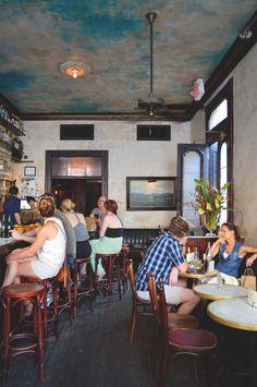 simple walls. busy ceiling. Hotel Delmano   Brooklyn, NY